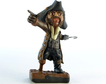 The Pirate - Original OOAK Polymer Clay Figurine - Cake Topper, Shelf or Desk Ornament or a Great Gift - Free US Shipping