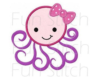 Octopus girl applique machine embroidery design