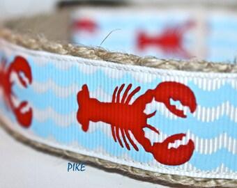 Lobster Dog Collar, Handmade Dog Collar, Adjustable Dog Collar, Pet Collar, Red Lobsters, Blue Waves, Ocean Dog Collar