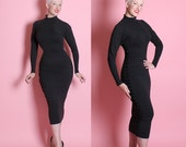 """RESERVED 1980's Designer Rare Cotton Lycra Extreme Hourglass Second Skin Bandage Dress w/ Fully Snap-Up Side by Betsey Johnson """"Punk"""" Label"""