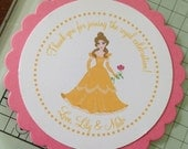 Belle Inspired Collection: Set of 8 Circle Favor Tags. Beauty and the Beast. Gold. Pink. Party Tags Circles. Personalized. Rose. Glitter.