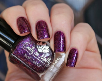 """Nail polish - """"Calibrated"""" multichrome flakies in a purple jelly base"""
