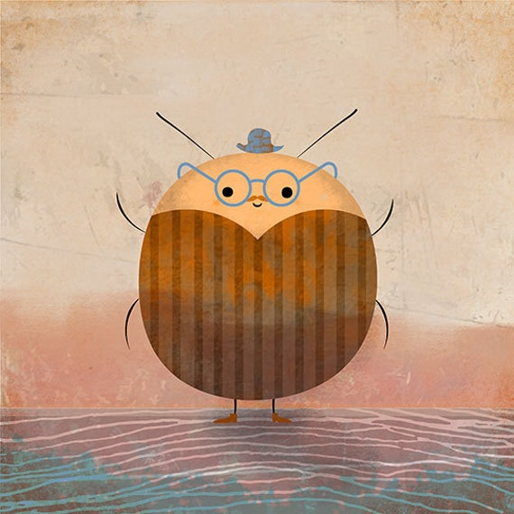 POTATO BEETLE - art print // cute illustration // orange brown blue bug