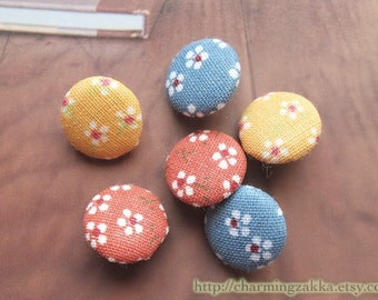 Fabric Covered Buttons - Little Chic Cherry Blossom, Choose Your Color (5Pcs, 0.75 Inch)