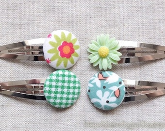 Hair Accessories, Handmade Hair Snap Clips - Mixed Fabric Buttons Resin Flowers, Grass Green Colorway Set (4 in a set)