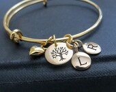 Gifts for grandma, Grandmother bracelet, multiple family initial bracelet bangle, tree of life charm, mom, personalized jewelry, nymetals