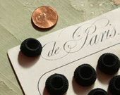 "1 silk velvet antique passementerie cloth button black intricate covered French Paris ribbonwork  trim 5/8"" wide"