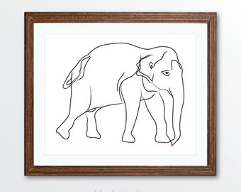Elephant Art Print - Minimalist Elephant Art - Line Drawing Art Print - Minimalist Home Decor