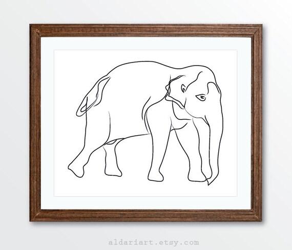 Minimalist Elephant Drawing: Elephant Art Print Minimalist Elephant Art Line Drawing
