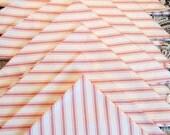 NAPL1517E  Large Pink and White Striped Vintage Cotton Napkin Set, Eco Friendly