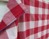 Vintage French Vichy Check Cotton Panel / Red & White