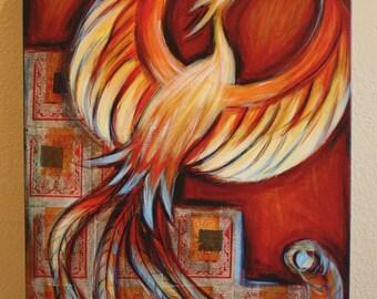 """Fiery Phoenix Giclee on Canvas - 24""""x 30"""""""