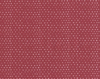 Red and Cream Mini Heart Fabric, Hilltop by Wee Gallery for Dear Stella, Hearts in Punch, 1 Yard