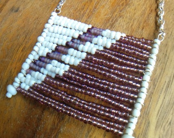 Purple and White Seed Bead Flag Necklace