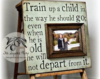 Baptism Gift, Christening Gift,  Godchild Gift, Goddaughter Gift, Godson Gift, 16x16 Train UP A Child