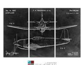 Airplane Design Patent Triptych Canvas Giclee - 36x24