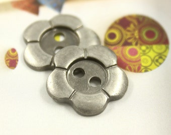 Metal Buttons - Flower Metal Buttons , Nickel Silver Color , 2 Holes , 0.71  inch , 10 pcs