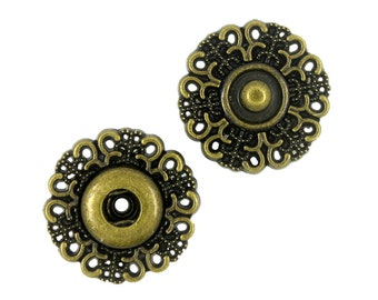 Motif Metal Snap Buttons , Antique Brass Color , Openwork , 0.79 inch , 5 sets.