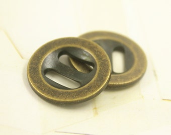 Metal Buttons - Oval Holes Antique Brass Metal Buttons. 0.79 inch , 10 pcs