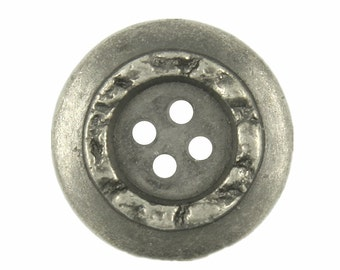 Metal Buttons - Stone Circle Metal Buttons , Nickel Silver Color , 4 Holes , 0.79 inch , 10 pcs