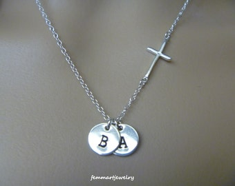 Sterling Silver Sideways Cross Necklace, Kids Initial Necklace, Monogram Necklace, Mothers day Gift Jewelry