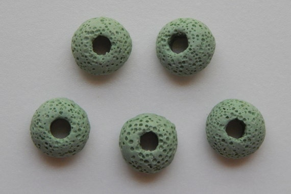 5 Pieces of 15mm Green Color Large Hole Lava Bead, European Style, Pumice Stone, 5mm Hole Size, Pitted Surface, Igneous Rock, Organic