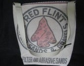 Vintage Sack Upcycled Large Purse Sands/Gravels Cotton Sack with Red Flint Arrowhead