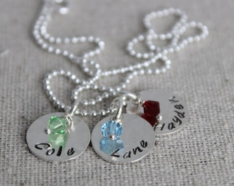 3 names necklace | birthstones necklace | mom of 3 | three names | custom stamped names | 3 kids names mothers necklace with birthstone