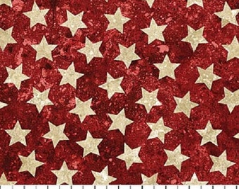 Ivory Stars on Red Stonehenge Stars & Stripes Quilt Fabric by the 1/2 yard