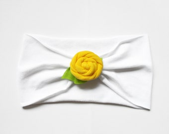 BABY SIZE Pick Your Color Extra Wide Jersey Knit Rose Flower Headband Headwrap