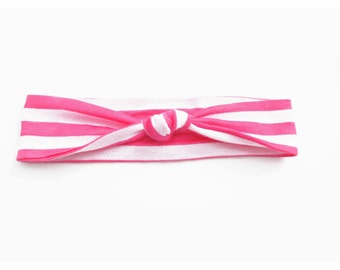 Pink Watermelon and White Stripe Lightweight Jersey Knit Top Knot Headband Fits Baby to Toddler Size