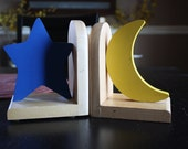 Vintage Bookends Moon Star Bookends Children Decor Kids Bedroom Decor Blue Yellow Bookends