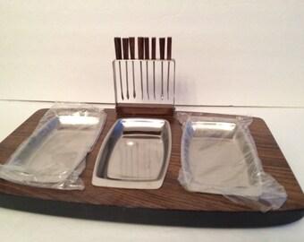 Vintage Shafford Canape Snack Server Tray Forks NOS Japan