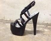 high heels, pumps,strappy, ankle strap, 90s shiny black  high heel platform pumps, womens 8 38.5, goth punk