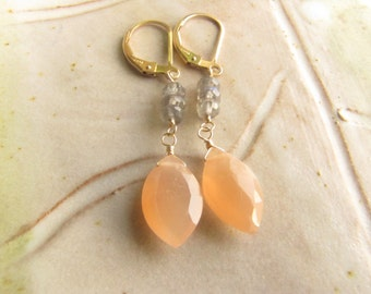 Peach Moonstone and Labradorite Gold Filled Earrings, Gemstone Earrings, Gold Filled Earrings, Semiprecious Stones Jewelry