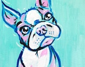 Original Boston Terrier Pop Art Acrylic Painting 5x7 inches by Amanda Christine Shelton