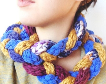 Purple, Gold, and Periwinkle Braided and Hand-Knit Scarf,made with Cotton and Wool Mix Yarn