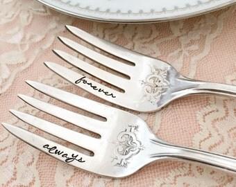 """Forever and Always. hand stamped forks, vintage """"Princess Doris""""  forks"""