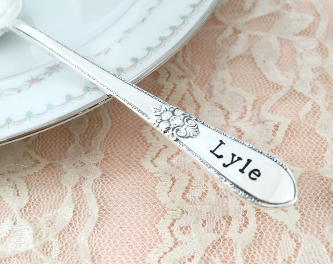 Baby or kids name spoon, hand stamped, adoration