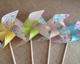 Favors Paper Pinwheels 10 Twirling Pinwheels Birthday Favors Paper Pinwheels Baby Shower Table Centerpiece Decoration Birthday Decorations