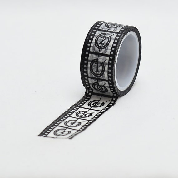 Film Washi Tape -black and white masking tape - decorative tape - Love My Tapes