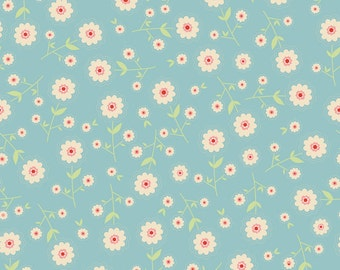 Delighted Blue Floral by The Quilted Fish for Riley Blake, 1/2 yard