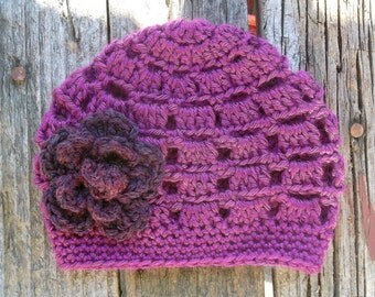 Newborn Girl Hat, Crochet Baby Hat, Girl, Baby Girl Hat, Infant Girl Hat, Baby Girl Beanie, Photo Prop, Purple,Metallic,  Crochet Infant Hat