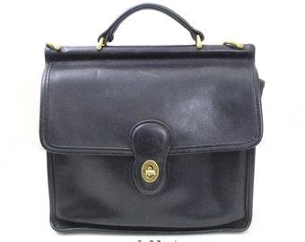 Vintage Coach Black Color Leather wills Tote, Coach Handbag , Small Briefcase / Coach -9927
