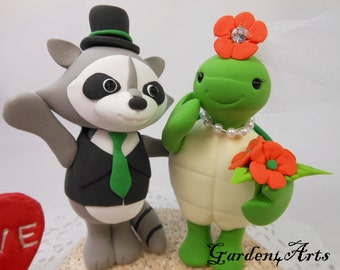 New--Wedding Cake Topper-- Love raccoon and turtle with clay sand base