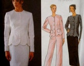 1990s Cocktail Evening Scalloped Hem Jacket Skirt Pants Ensemble Simplicity 8519  Uncut FF Size 6-8-10 Bust 30.5- 32.5 Womens Sewing Pattern