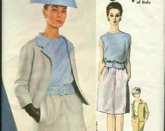 1960s Galitzine Designer Suit Blouse Slim Skirt Bias Cut Sleeveless Blouse Jacket Vogue 1496 Size 14 Bust 34 Women's Vintage Sewing Pattern