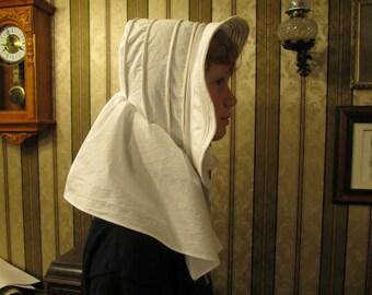 Corded bonnet - White cotton - Civil War era
