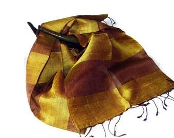 Vintage Oblong Raw Slub Silk Scarf- Two Tone Gold and Brown