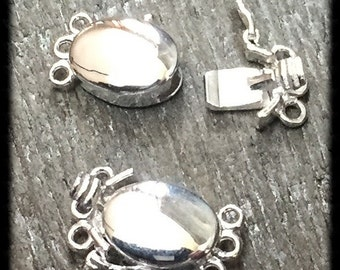 Sterling Silver Oval Box Clasp 3 Strand Jewelry Supply Jewelry Findings